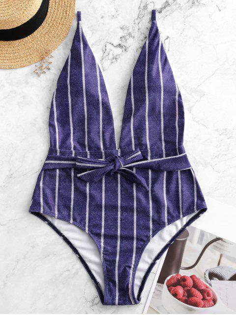 buy Striped Denim Print Belted Backless One-piece Swimsuit - MULTI-A L Mobile