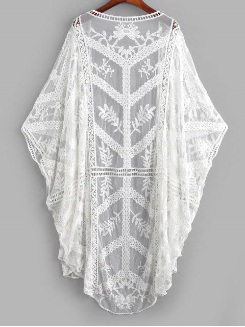 women's Sheer Mesh Batwing Embroidered Cover-up - WHITE ONE SIZE Mobile