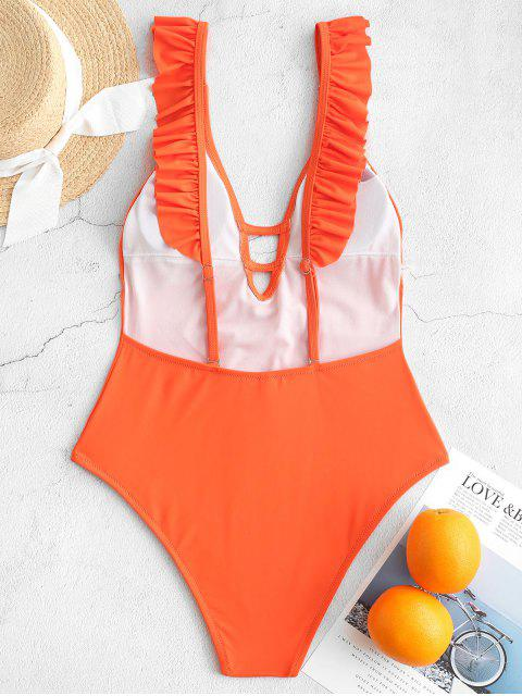 unique ZAFUL Ruffle Ladder Cut Backless One-piece Swimsuit - BRIGHT ORANGE S Mobile
