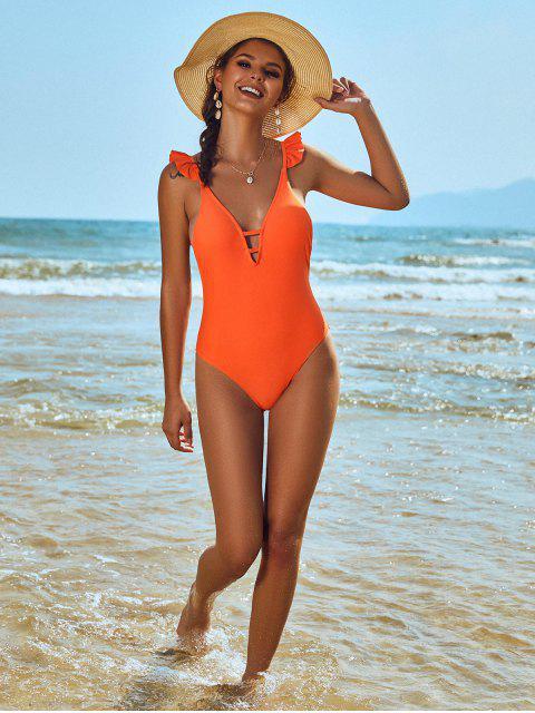 womens ZAFUL Ruffle Ladder Cut Backless One-piece Swimsuit - BRIGHT ORANGE L Mobile