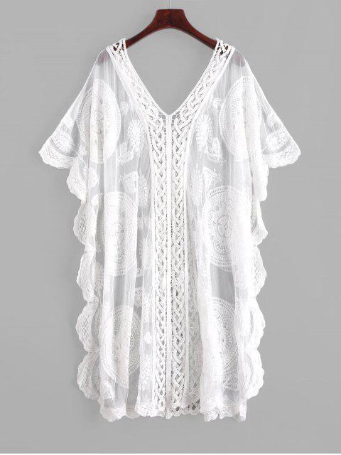 Robe Caftan Brodée en Maille Transparente - Blanc Taille Unique Mobile