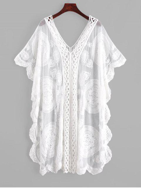 buy Embroidered Sheer Mesh Kaftan Dress - WHITE ONE SIZE Mobile
