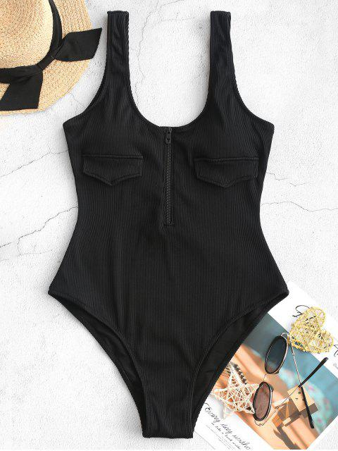 lady ZAFUL Half Zip Textured Ribbed One-piece Swimsuit - BLACK L Mobile