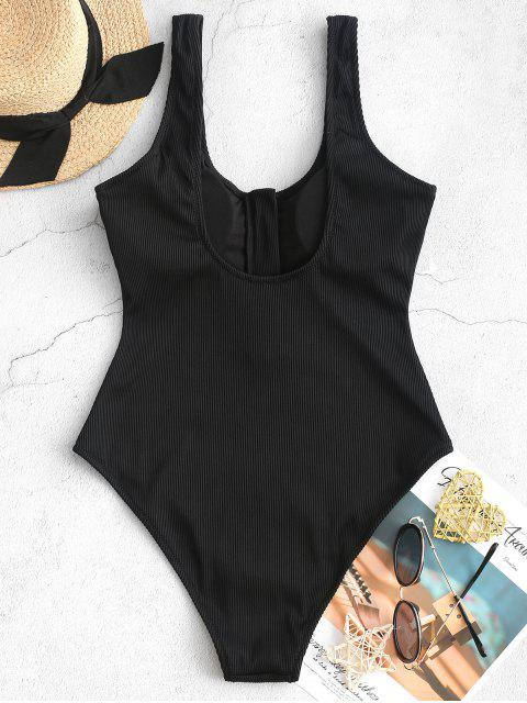 ZAFUL半拉鍊質感羅紋連體泳衣 - 黑色 XL Mobile