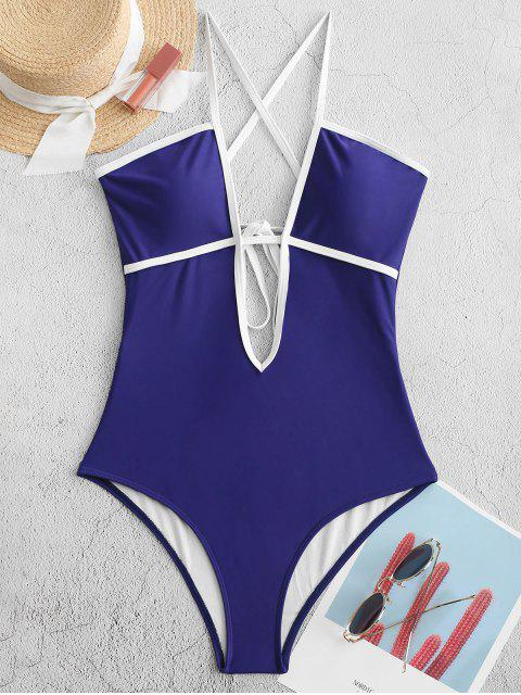online ZAFUL Piping Criss Cross One-piece Swimsuit - NAVY BLUE M Mobile