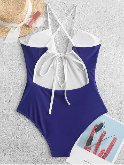 shop ZAFUL Piping Criss Cross One-piece Swimsuit - NAVY BLUE L Mobile