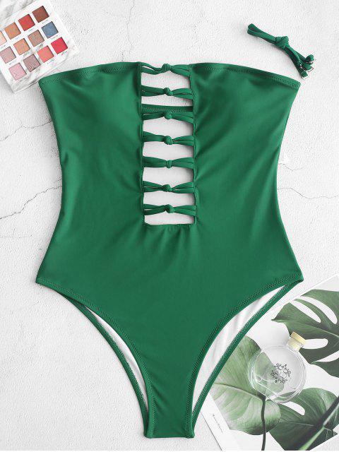 shop ZAFUL Ladder Cut Cami One-piece Swimsuit - MEDIUM FOREST GREEN XL Mobile