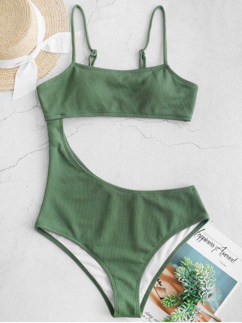 ZAFUL切出羅紋連體泳衣 - 淡褐綠色 M Mobile