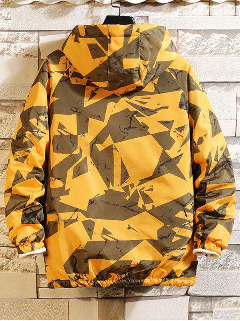 Raglán de la manga de impresión geométrica de la capilla Chaqueta acolchada - Amarillo M Mobile