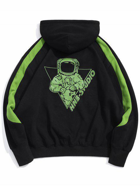 Sudadera con capucha del bolsillo delantero de neón astronauta Fleece Graphic - Negro 2XL Mobile
