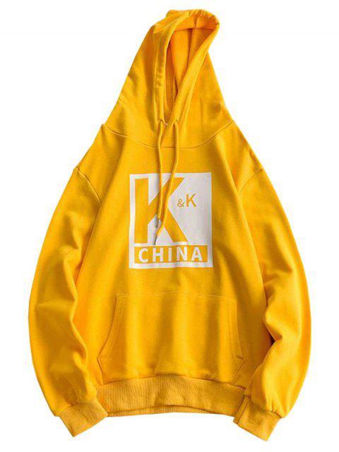 Sudadera con capucha del lazo del bolsillo Impreso carta - Amarillo Brillante S Mobile