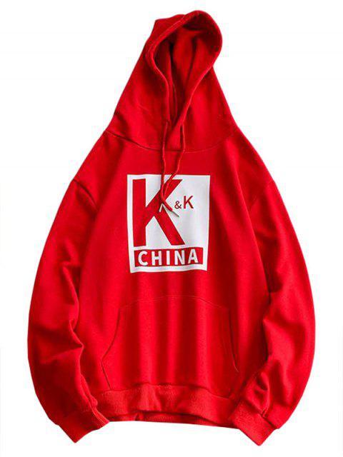 Sudadera con capucha del lazo del bolsillo Impreso carta - Rojo L Mobile