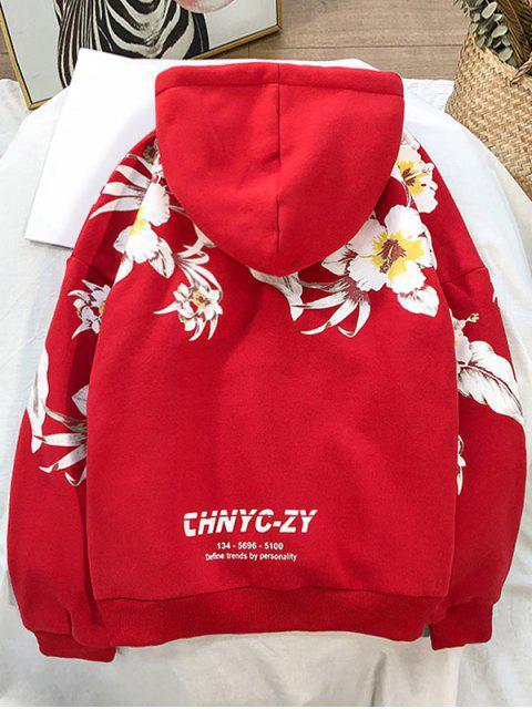 Impresa flor de bolsillo con capucha informal - Rojo de Rubí 4XL Mobile