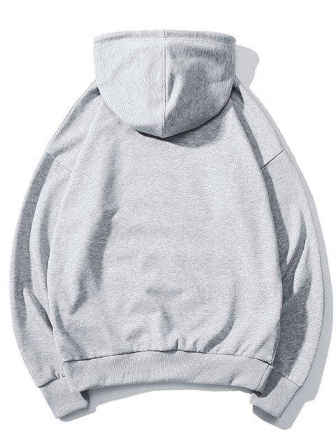 Sudadera con capucha del lazo del bolsillo Impreso carta - Gris L Mobile