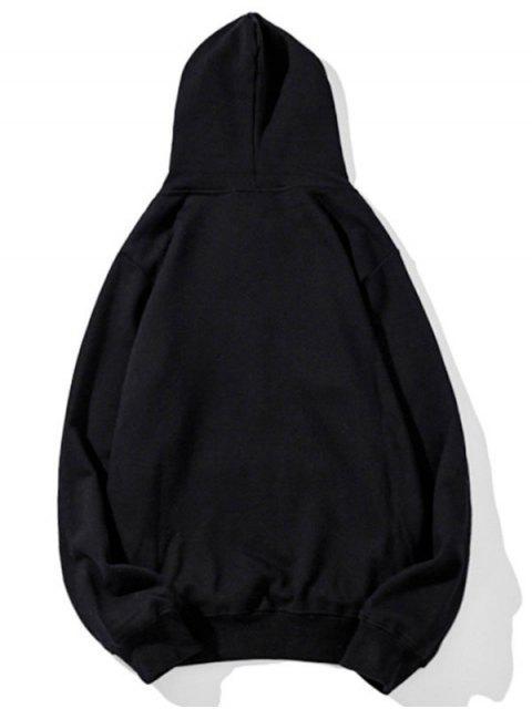 Sudadera con capucha del lazo del bolsillo Impreso carta - Negro L Mobile