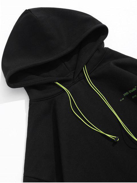 Sudadera con capucha del bolsillo delantero de neón astronauta Fleece Graphic - Negro M Mobile