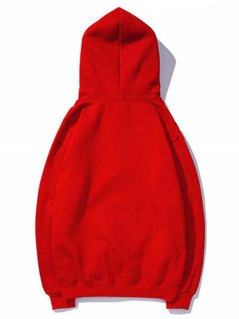 Sudadera con capucha del lazo del bolsillo Impreso carta - Rojo 2XL Mobile