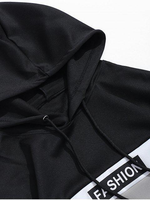 El bloqueo de color Grupo de impresión de letras con capucha con cordón - Gris M Mobile