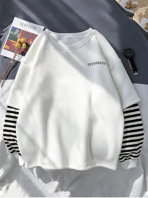 Casual Carta de rayas de impresión con capucha - Blanco XL Mobile