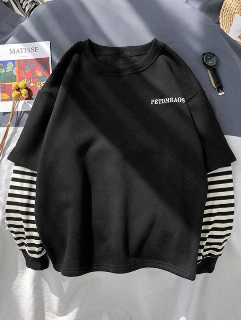 chic Casual Letter Striped Print Sweatshirt - BLACK M Mobile
