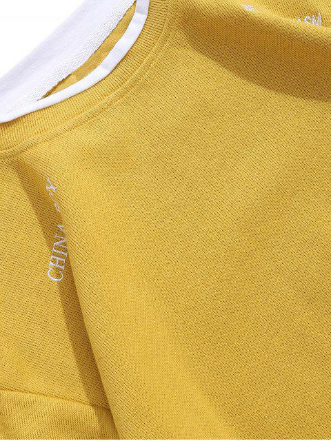 Carta bordado gráfico Colorblock Faux Twinset sudadera - Amarillo 2XL Mobile