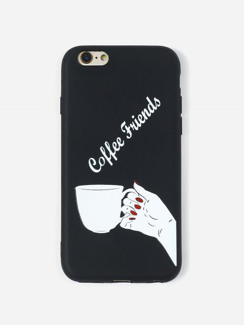 unique Coffee Print TPUPhone Case For IPhone - BLACK 6/6S Mobile