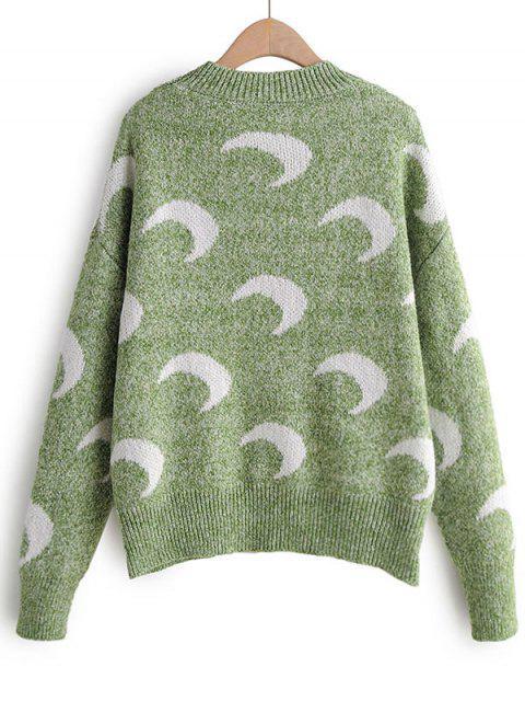 Luna de impresión de goteo hombro suéter suéter - Verde Talla única Mobile