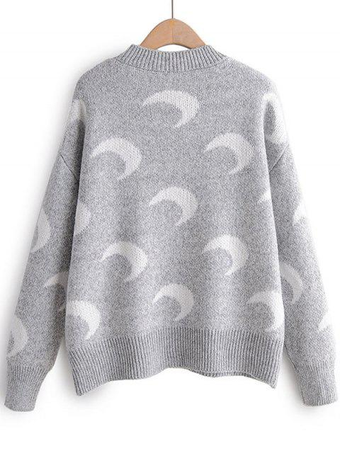 women Moon Print Drop Shoulder Pullover Sweater - GRAY ONE SIZE Mobile