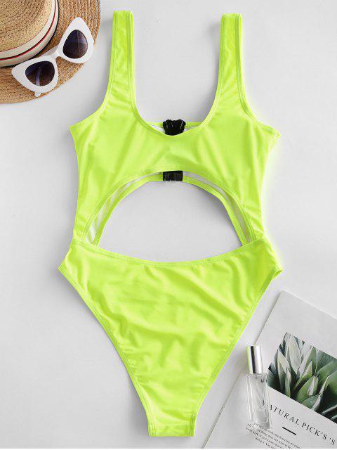 new ZAFUL Neon Cutout High Cut Zip One-piece Swimsuit - GREEN YELLOW M Mobile