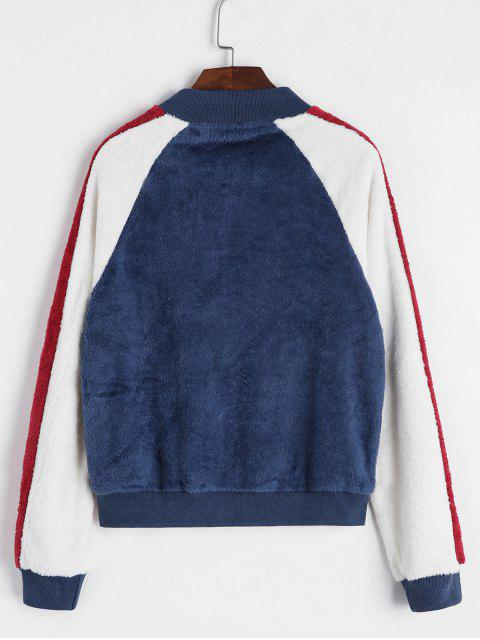 chic Zip Front Fluffy Colorblock Fleece Jacket - BLUE L Mobile