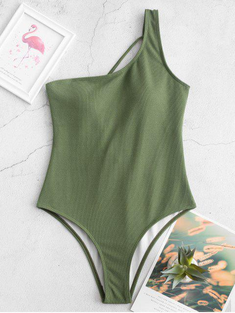 outfit ZAFUL Lace Up One Shoulder Ribbed One-piece Swimsuit - CAMOUFLAGE GREEN XL Mobile