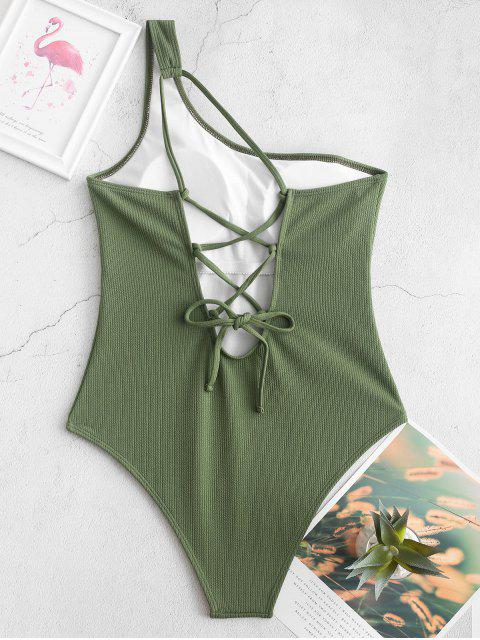 fancy ZAFUL Lace Up One Shoulder Ribbed One-piece Swimsuit - CAMOUFLAGE GREEN S Mobile