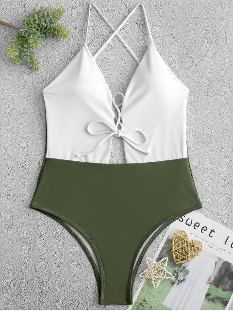ZAFUL色塊蕾絲露背最多一個連體泳衣 - 多-A XL Mobile