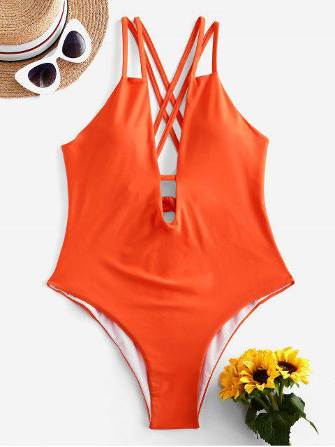 outfits ZAFUL Criss Cross Backless Plunge Front Swimsuit - PUMPKIN ORANGE S Mobile
