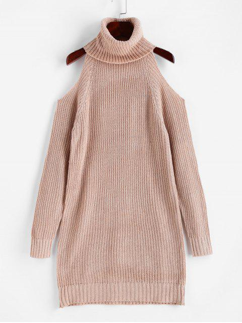 women Turtleneck Cold Shoulder Raglan Sleeve Sweater Dress - KHAKI M Mobile