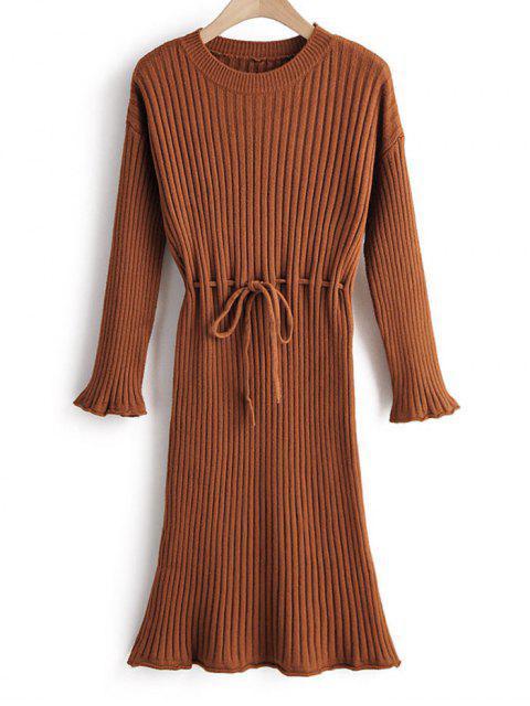 Gerippter Pullover Kleid mit Drop Schulter und Krawatte - Kaffee Eine Größe Mobile