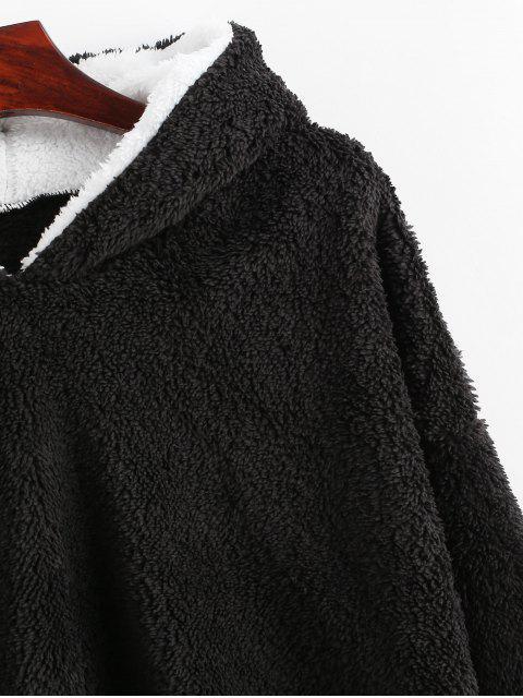 Flauschiges Hoodie mit Streifen und Drop Schulter - Schwarz XL Mobile