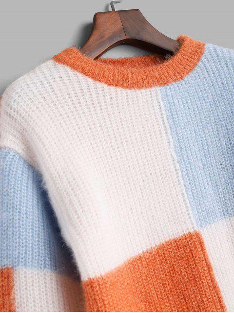 クルーネックColorblockファジーセーター - マルチA ワンサイズ Mobile