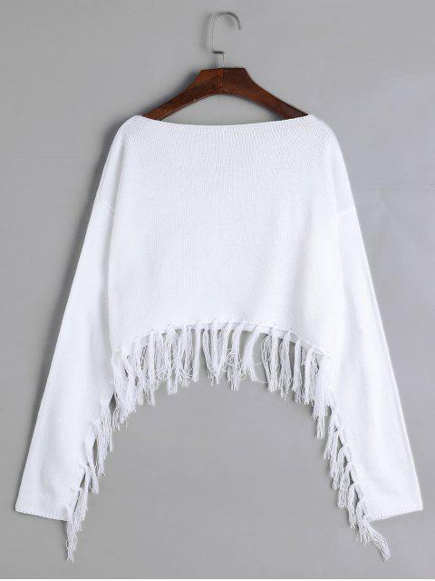 buy Tassels Boat Neck Crop Sweater - WHITE S Mobile