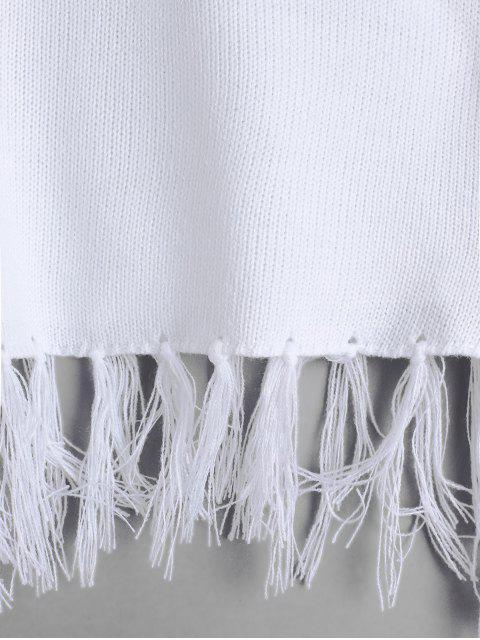 Suéter de cultivos borlas del cuello del barco - Blanco L Mobile