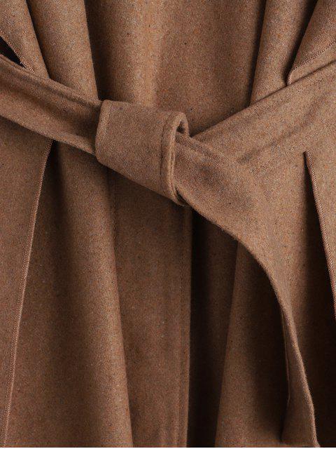 Manteau Long Ceinturé en Laine Mélangée - Bronze S Mobile