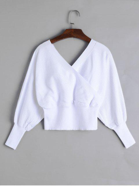 women's Balloon Sleeves Overlap Crop Knitwear - WHITE M Mobile