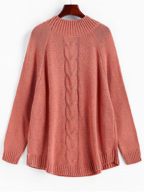 Raglanärmeln Stehkragen  Lose Pullover - Pink M Mobile