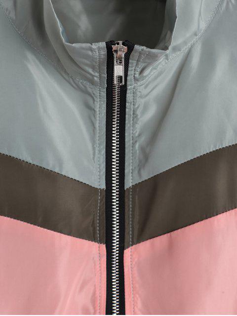 Farbblock Tropfen Schulter Crop Windbreaker Jacke - Hellgrün S Mobile