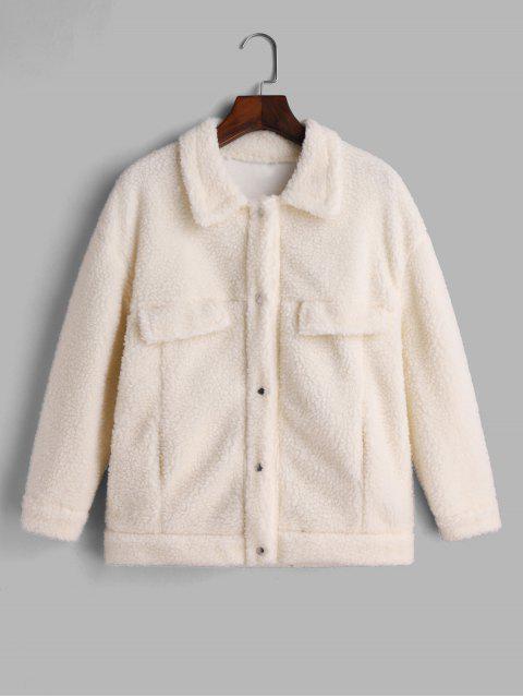 Druckknopf Künstliche Taschen Einfarbige Teddy Jacke - Weiß Eine Größe Mobile