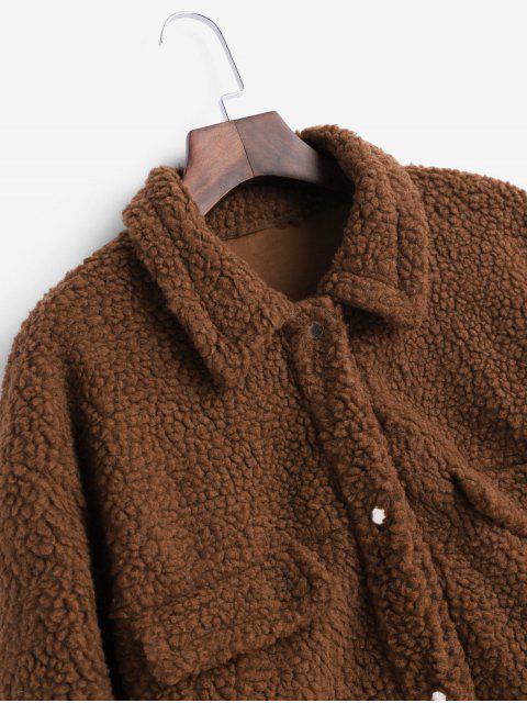 Druckknopf Künstliche Taschen Einfarbige Teddy Jacke - Braun Eine Größe Mobile