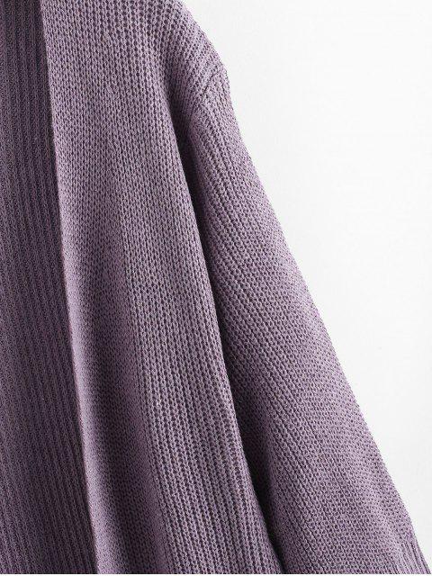 Langline Offene Vordere Seiten-Schlitz Dual-Taschen-Strickjacke - Lila Eine Größe Mobile
