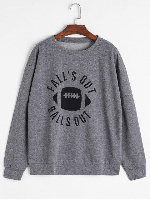 new Letter Drop Shoulder Loose Sweatshirt - GRAY M Mobile