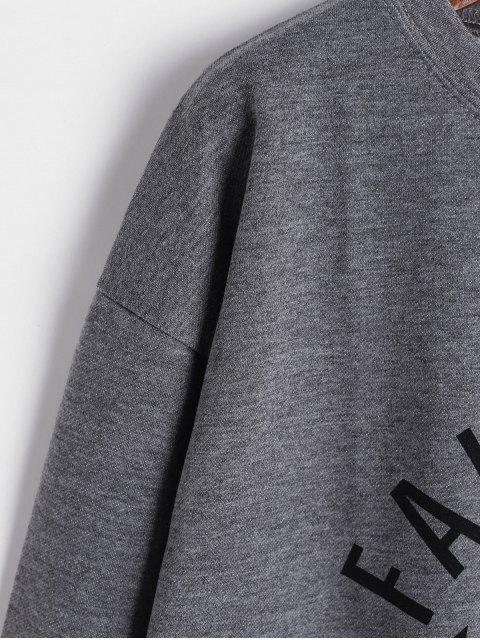online Letter Drop Shoulder Loose Sweatshirt - GRAY XL Mobile