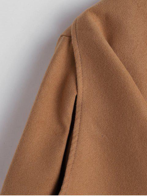 Manteau Long Ceinturé en Laine Mélangée avec Poches - Marron Camel L Mobile